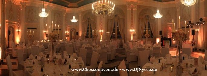 Saalbeleuchtung für ein passendes Ambiente für Ihre Hochzeit in der Redoute in Bonn Bad Godesberg mit ChossonEvent und DJNycco